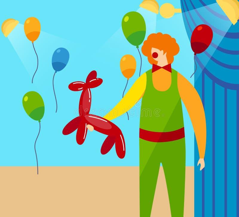 Clown Holding dans le ballon rouge de mains dans la forme du chien illustration stock