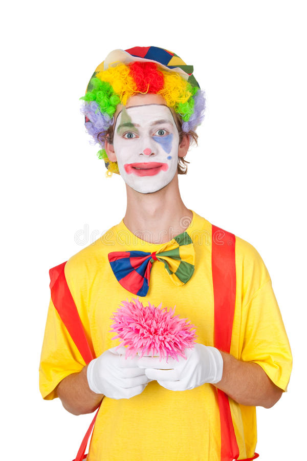 Clown holding pink flower stock image