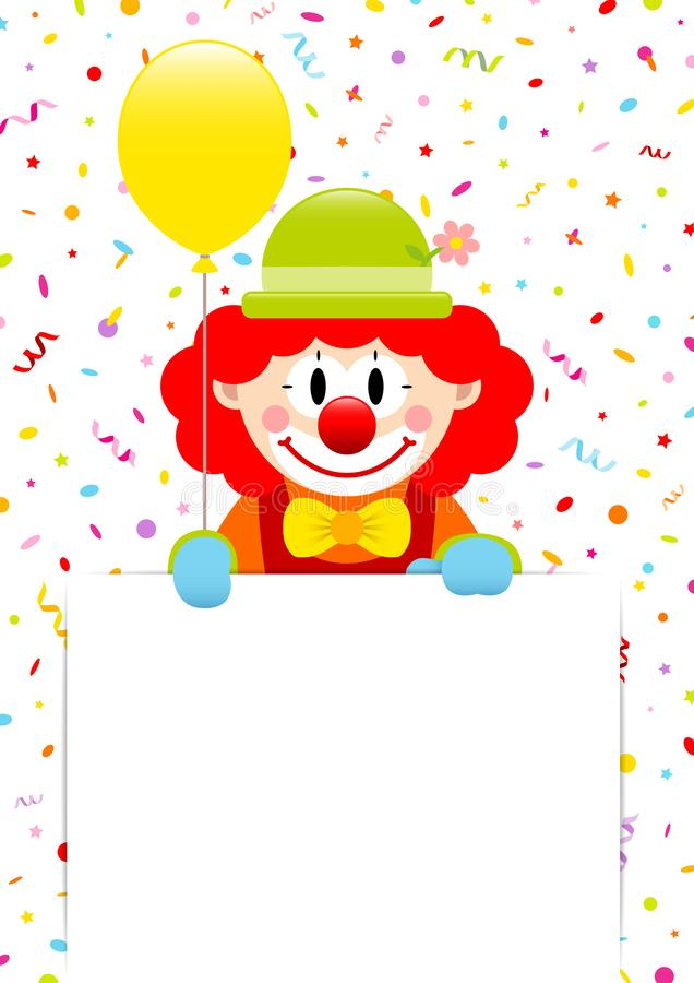 Clown Holding Yellow Balloon und Aufkleber mit Ausläufern und Konfettis stock abbildung