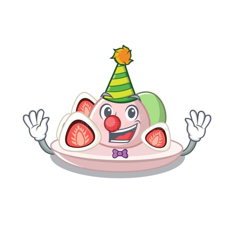 Clown ichigo daifuku diente auf Maskottchenschüssel lizenzfreie abbildung