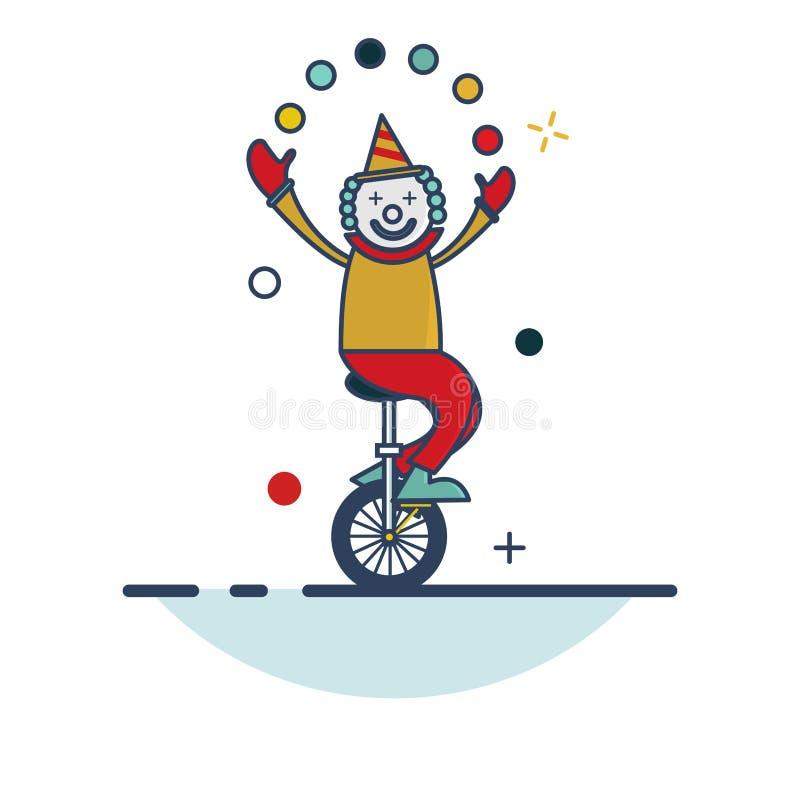 Clown Icon - mit Entwurf gefüllter Art stock abbildung