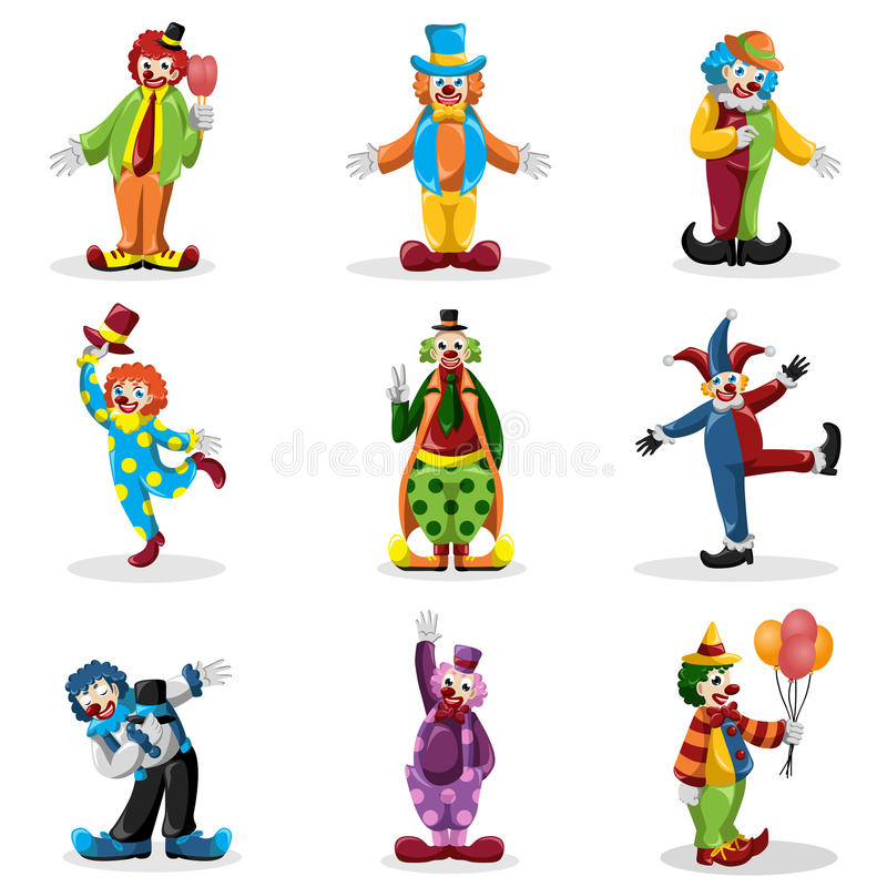 Clown icons royalty free illustration