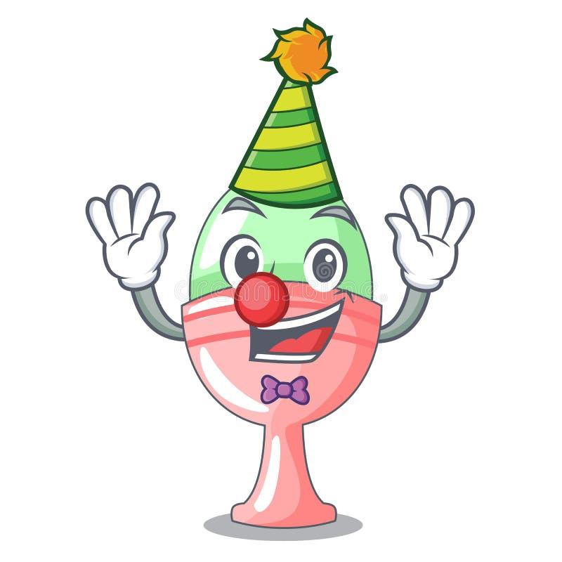 Clown im Eierbecher lokalisiert auf Charakter lizenzfreie abbildung