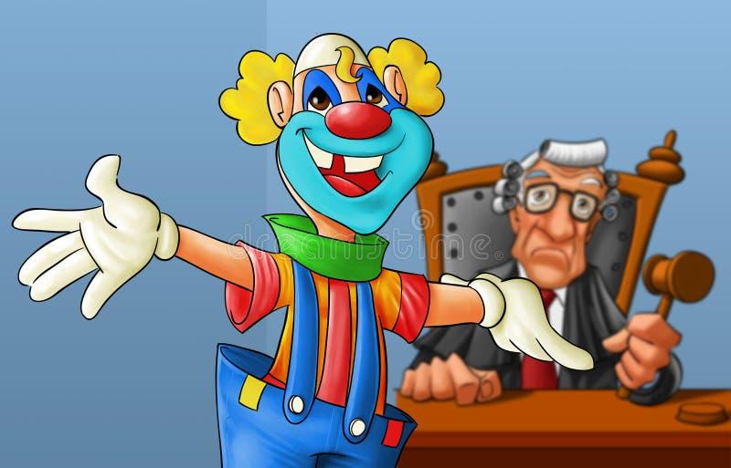 Clown im Gericht stock abbildung