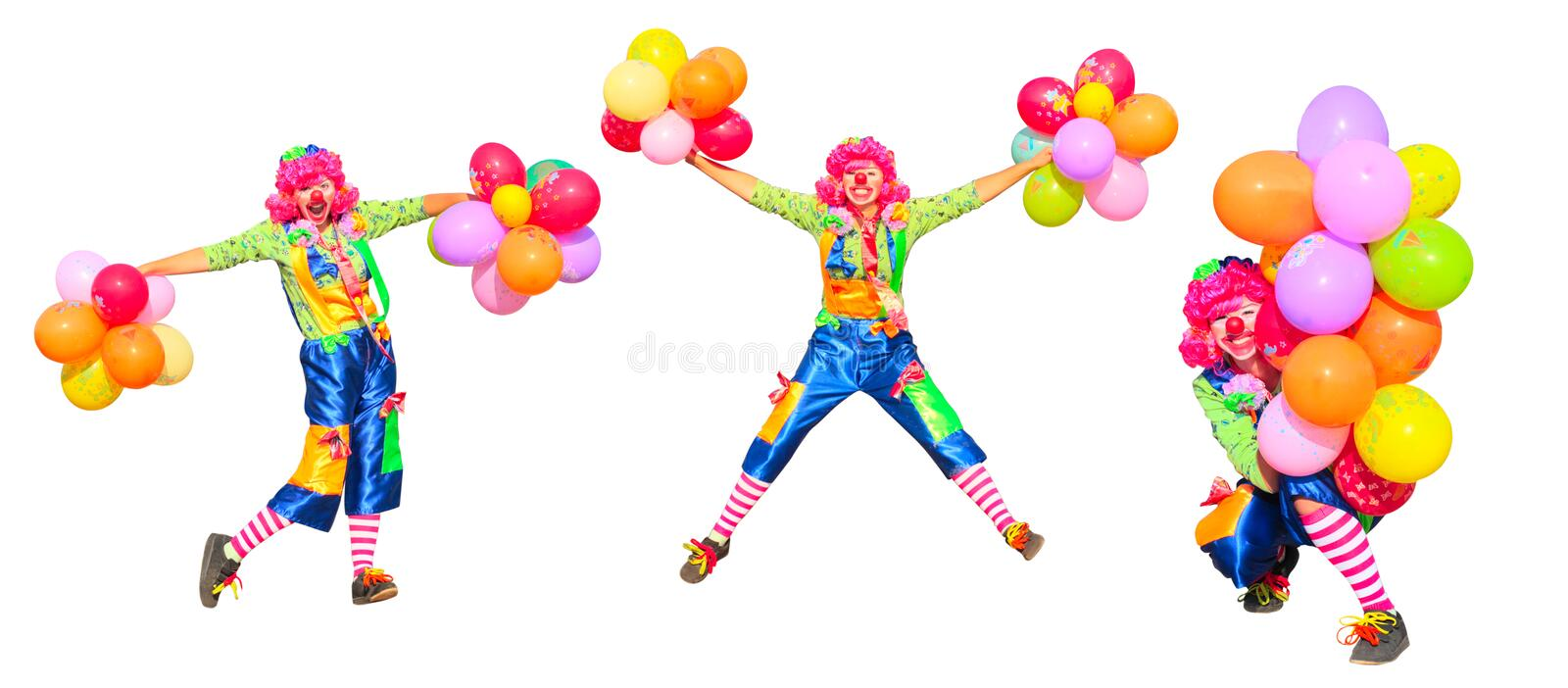 Clown isolated on white stock photos