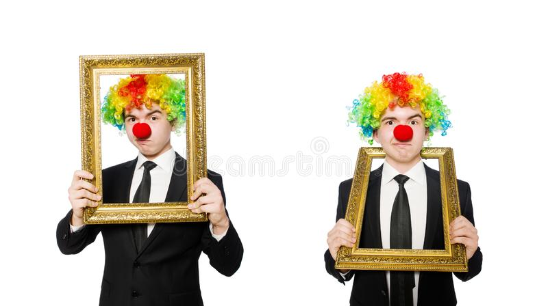 Clown isolated on the white background royalty free stock photo