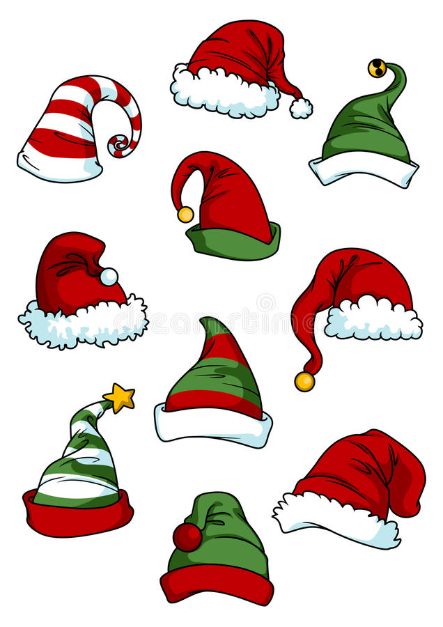 Clown, joker en Santa Claus-beeldverhaalhoeden vector illustratie
