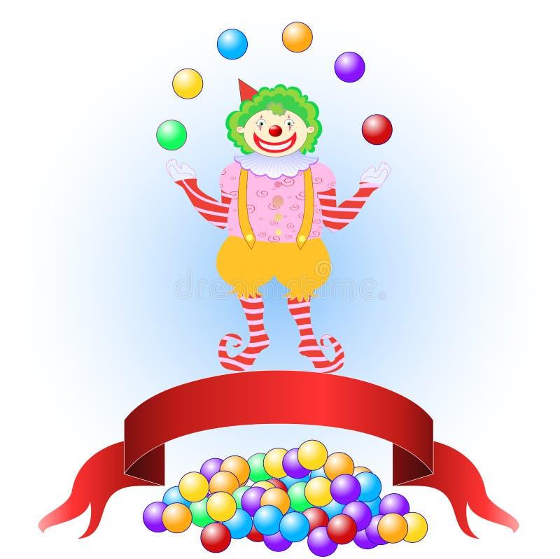 Clown jonglant les billes colorées illustration de vecteur