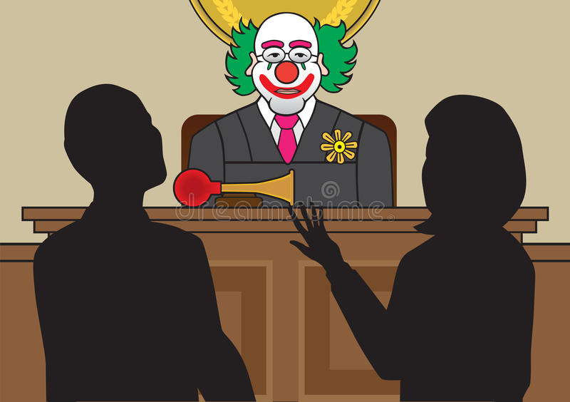 Clown Judge. Listens to two lawyers argue their case stock illustration