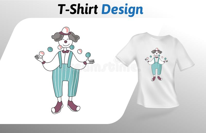 Clown juggling balls, carton style t-shirt print. Mock up t-shirt design template. Vector template, isolated on white royalty free illustration