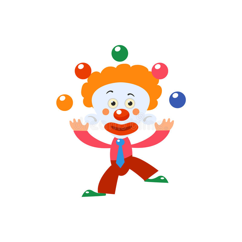 Clown Juggling Simplified Isolated royalty-vrije illustratie