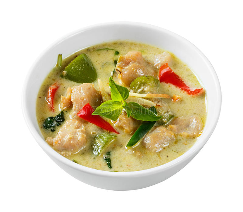 Clown knifefish ball green curry. Close up clown knifefish ball green curry with sweet basil and chili - deep focus image with path royalty free stock images
