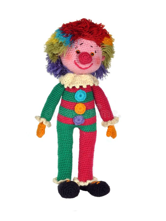 Clown knitted toy/ stock image