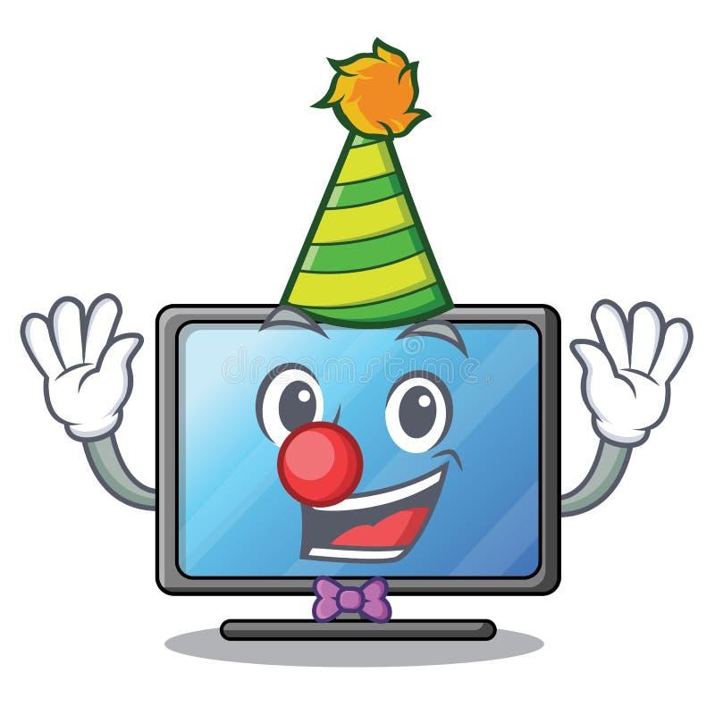 Clown lcd-Fernsehen lokalisiert mit dem Charakter lizenzfreie abbildung