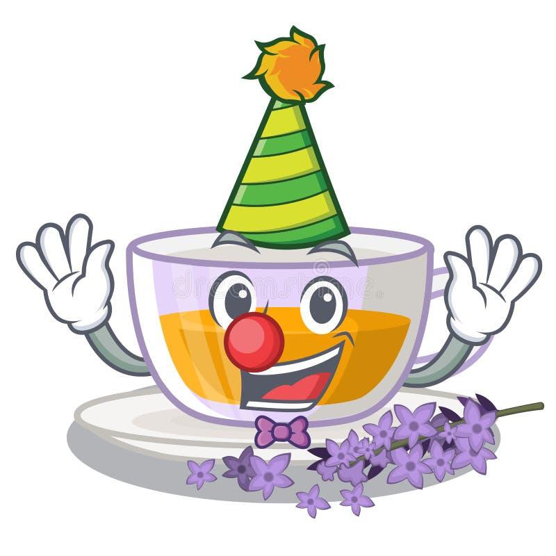 Clown levender Tee ist gegossene Karikaturflasche stock abbildung