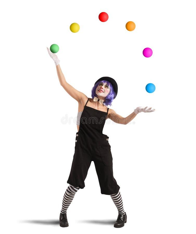 Clown like a juggler stock photos