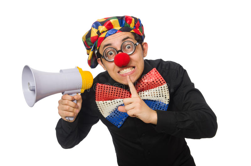 Clown with loudspeaker isolated on white. The clown with loudspeaker isolated on white royalty free stock photos