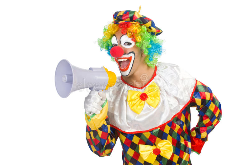 Clown with loudspeaker. On white stock photo