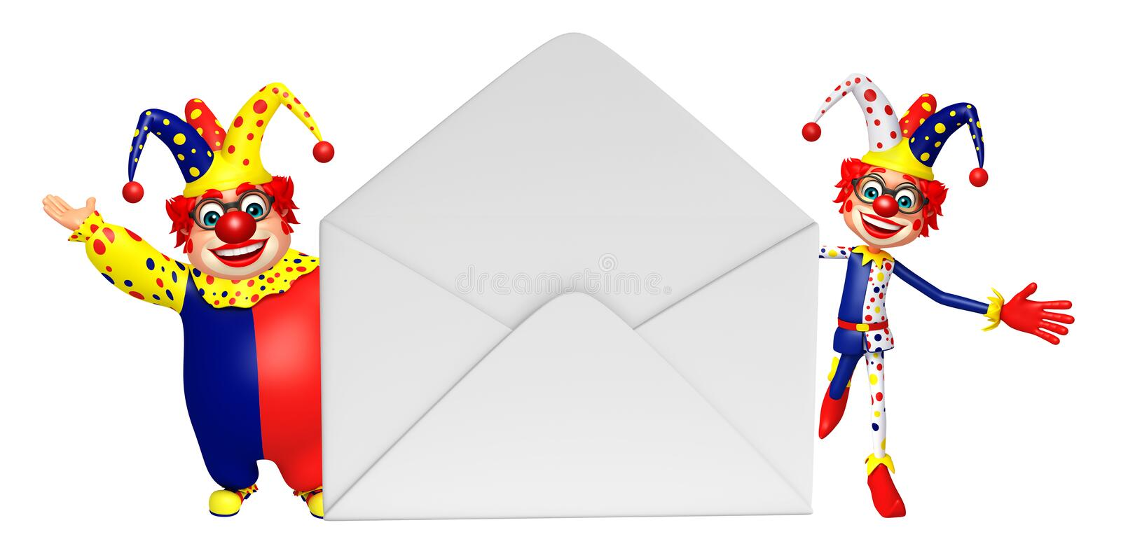 Clown with Mail. 3d rendered illustration of Clown with Mail vector illustration