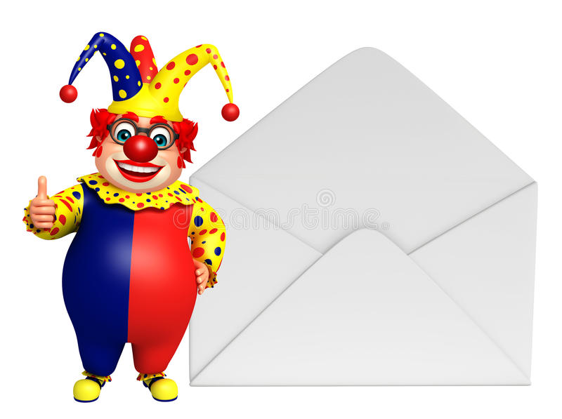 Clown with Mail. 3d rendered illustration of Clown with Mail royalty free illustration