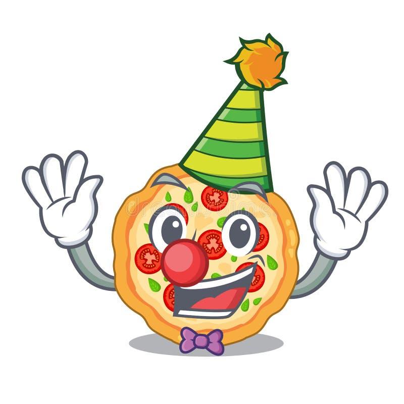 Clown margherita Pizza in der Maskottchenform stock abbildung