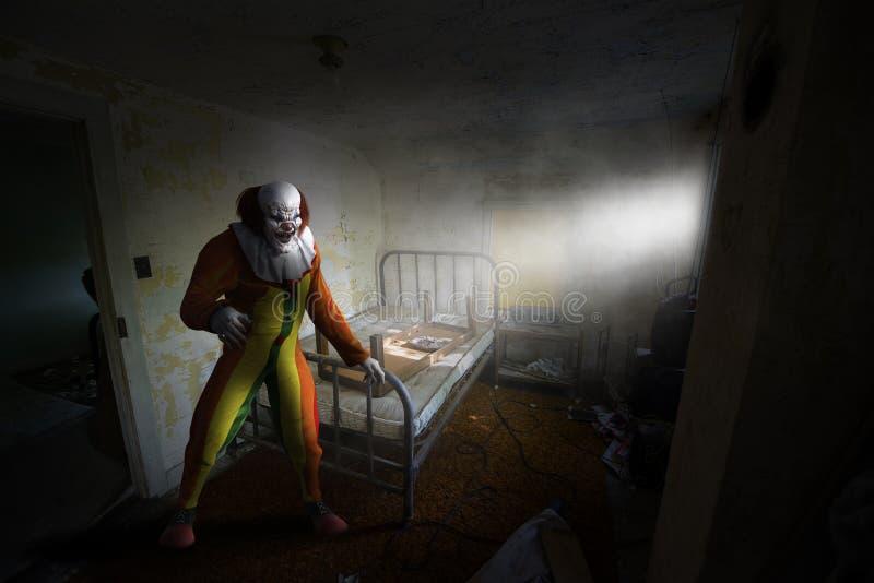 Clown mauvais de Halloween, Chambre hantée, monstre image libre de droits