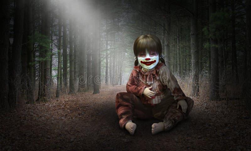 Clown mauvais Halloween Doll, effrayant illustration libre de droits