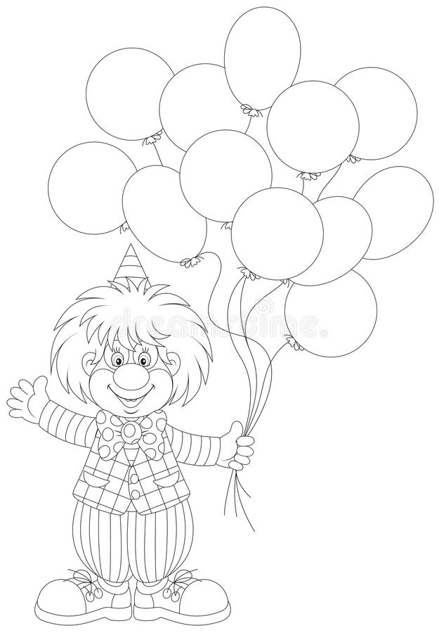 Clown med ballonger royaltyfri illustrationer