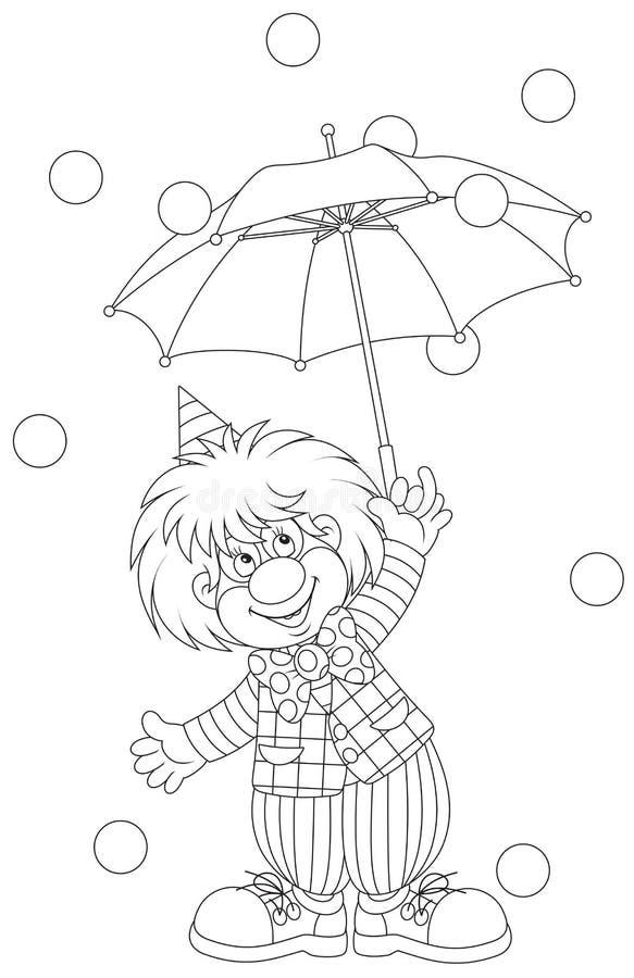 Clown med ett paraply vektor illustrationer