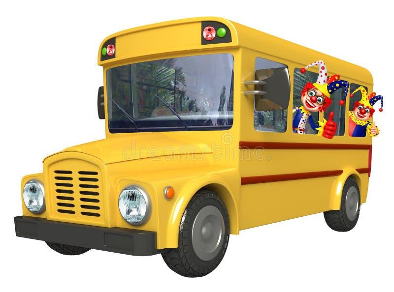 Clown med skolbussen royaltyfri illustrationer