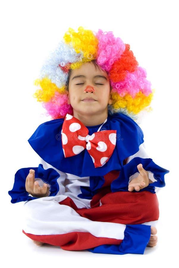 Clown-Meditation lizenzfreie stockfotografie
