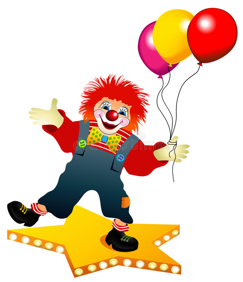 Clown met ballons stock illustratie