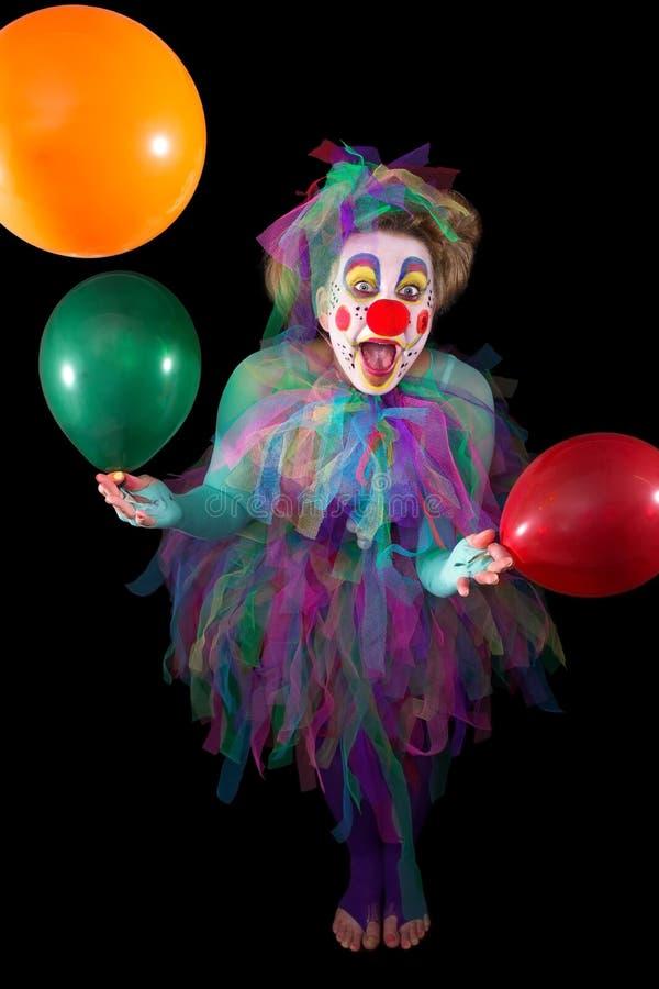 Clown met ballons stock afbeelding