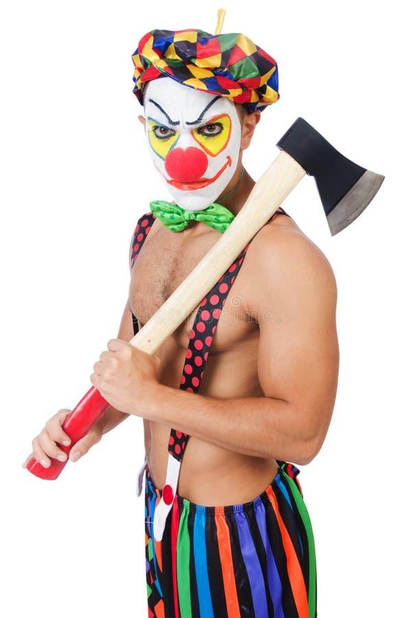Clown met bijl stock fotografie