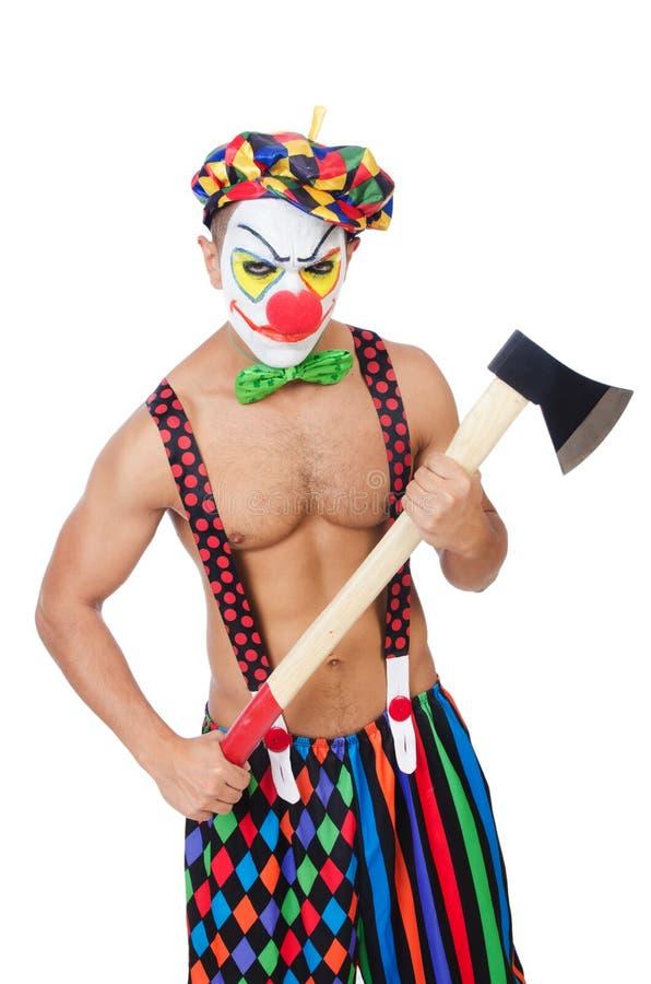 Clown met bijl stock afbeelding