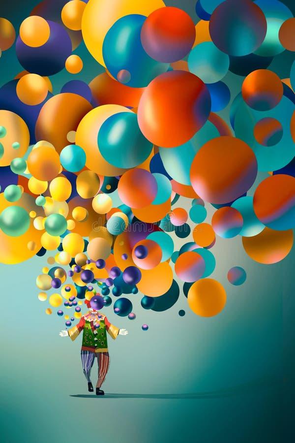Clown met kleurrijke ballons royalty-vrije illustratie