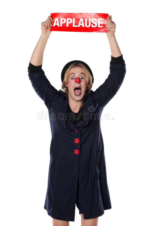 Clown mit Applausbrett stockbilder