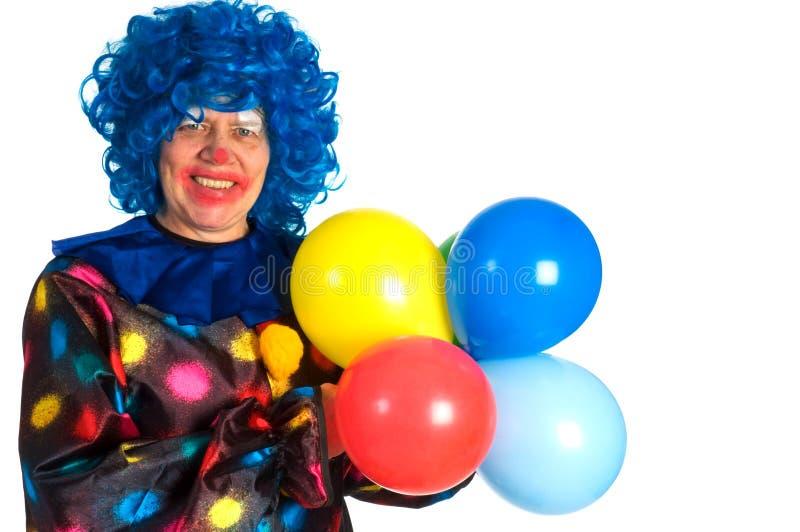 Clown mit Ballonen stockfoto