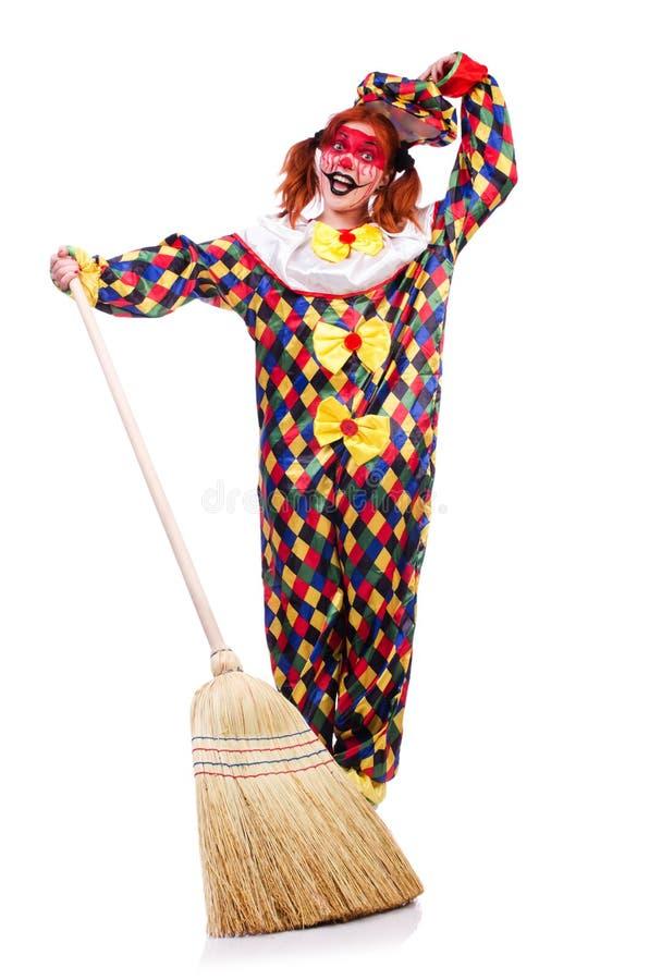 Clown mit Besen lizenzfreies stockbild