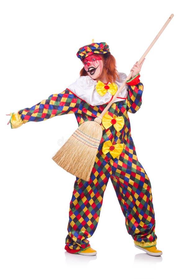 Clown mit Besen stockfoto