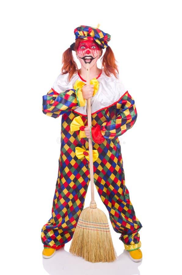 Clown mit Besen stockfotografie