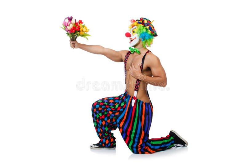 Clown mit Blumen lizenzfreie stockfotografie