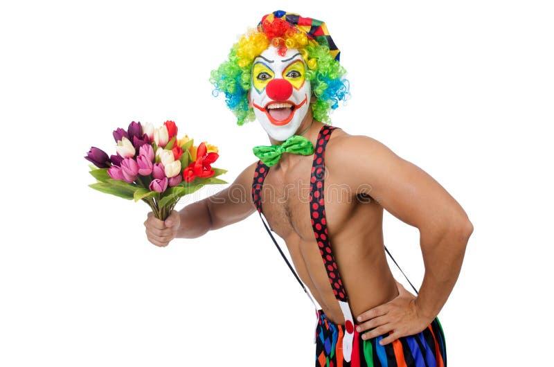 Clown mit Blumen lizenzfreie stockfotos
