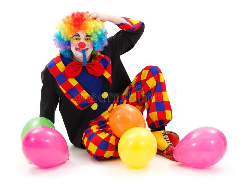 Clown mit bunten Ballonen stockfotos