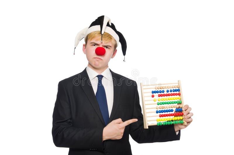 Clown mit dem Abakus lokalisiert lizenzfreie stockbilder