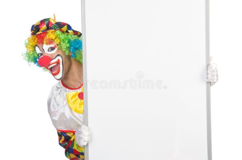 Clown mit leerem Brett lizenzfreie stockfotos