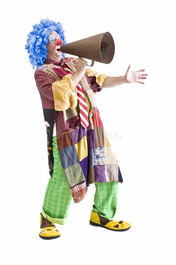 Clown mit Megaphon stockbild