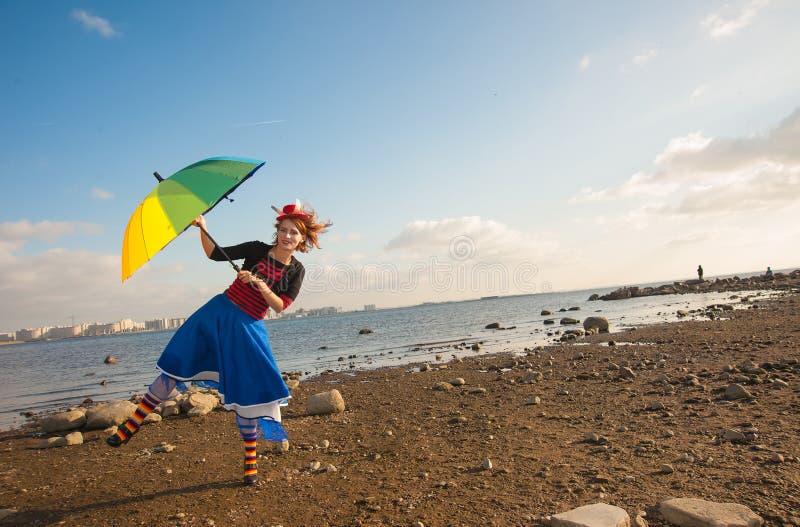 Clown mit Regenschirm lizenzfreie stockfotos