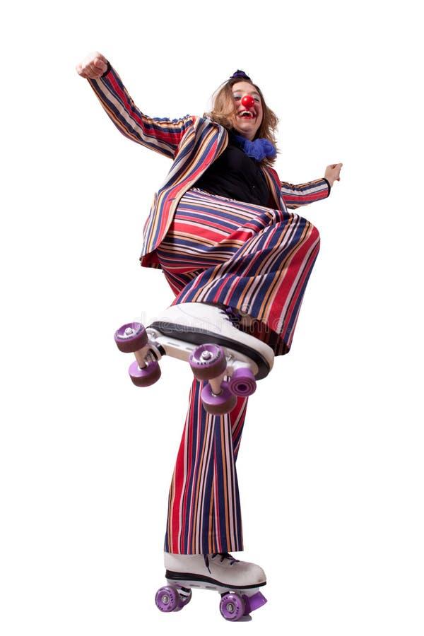 Clown mit Rollschuhen stockfotos