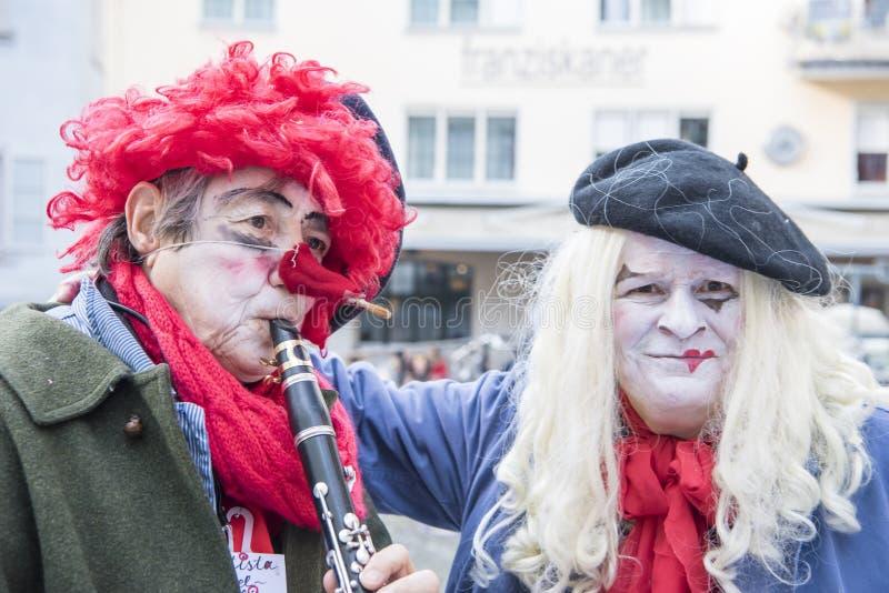 Clown-Musicians-Karneval Zürich lizenzfreies stockbild